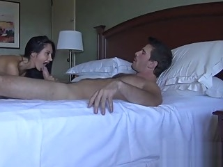 Son meets mom in an hotel to fuck after a long time straight