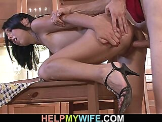 Husband friend fucks his young brunette wife amateur