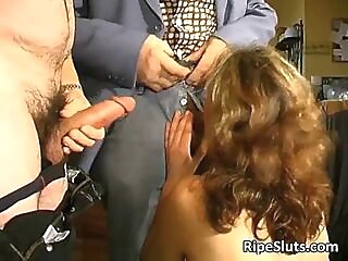 Mature hairy slut fucks two old guys anal