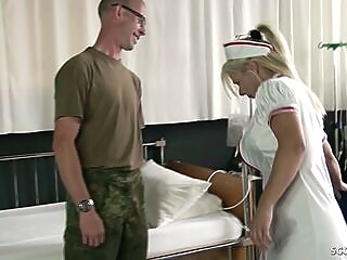 Female Nurse MILF Fuck the Young Boy at Military Checkup big tits