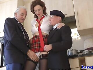 Uniformed milf spitroasted by old guy in trio bondage