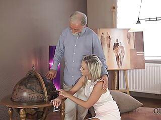 OLD4K. Nice cock of old teacher was main target for slutty beauty blonde