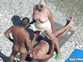 Mature Nudist Granny Milf Fucked At The Beach with voyeurs beach