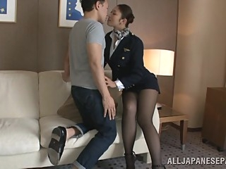 Hot stewardess is an Asian doll in high heels asian