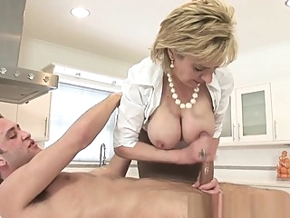 Lady Sonia Jerks Off Young Stud On Kitchen Counter big tits