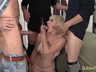 Golden Slut - Mature Blowbang Compilation Part 3 blowjob