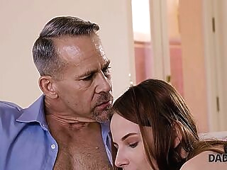 DADDY4K. Redhead quarrels with her BF but his father calms her down blowjob